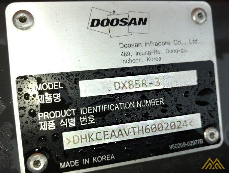 18,000 lb. Doosan DX85R-3 Hydraulic Excavator 14