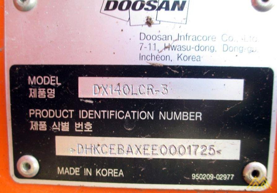 32,000 lb. Doosan DX140LCR-3 Hydraulic Excavator 12